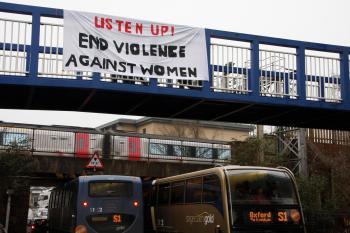 International Women's Day banner at Oxford Rail station